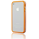 Orange-Clear Bumper Frame TPU Silicone Case for iPhone 4S 4G with Side Button