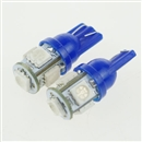 2PCS T10 5050 SMD Hyper Blue Car Smd Wedge 5 Led Light Bulbs 12V