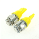 2PCS T10 5050 SMD Hyper Yellow Car Smd Wedge 5 Led Light Bulbs 12V