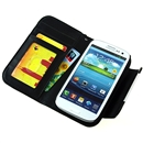 Black Flip Wallet Leather Case Cover For Samsung Galaxy S 3 III S3 I9300 with Strap