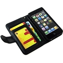 Deluxe Black PU Leather Folding Wallet Credit Card Case For Apple iPhone 5 5G with Strap