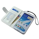 White Stand Litchi PU Leather Case Cover Wallet for Samsung GALAXY NOTE 2 II N7100 with Strap