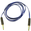 3FT 3.5mm Male M/M Stereo Plug Jack Audio Flat Extension Cable For Phone PC MP3 Blue