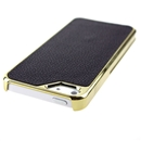 Black Deluxe PU Leather with Gold Edge Snap-On Hard Case Cover for Apple iPhone 5 5G 5th Gen