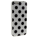 White with Black Wave Point Dot Soft Back Case Cover Skin for iPhone 5 5G 5th Gen New