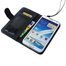 Black Stand Litchi PU Leather Case Cover Wallet for Samsung GALAXY NOTE 2 II N7100 with Strap