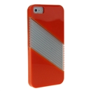 Orange Soft Silicone with Hard Clear Diagonal  Case Cover for iPhone 5 5G New