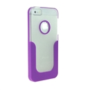 Purple U-Line Clear Back Hard Case Cover for Apple iPhone 5 5G 5th Gen New