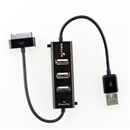 3 Ports USB 2.0 Hub Splitter Charger for iPhone 4 4G 4S iPad 1 2 3 iPod Black