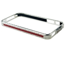 Lexury Crystal Bling Aluminum Metal Bumper Hard Case For Apple iPhone 4S Red