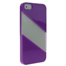 Purple Soft Silicone with Hard Clear Diagonal  Case Cover for iPhone 5 5G New