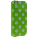 Green with White Wave Point Dot Soft Back Case Cover Skin for iPhone 5 5G 5th Gen New