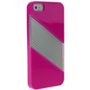 Pink Soft Silicone with Hard Clear Diagonal  Case Cover for iPhone 5 5G New