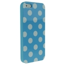 Blue with White Wave Point Dot Soft Back Case Cover Skin for iPhone 5 5G 5th Gen New