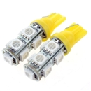 2PCS T10 5050 SMD Hyper Yellow Car Smd Wedge 9 Led Light Bulbs 12V