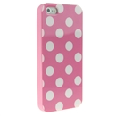 Pink with White Wave Point Dot Soft Back Case Cover Skin for iPhone 5 5G 5th Gen New