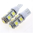 2PCS T10 5050 SMD Hyper White Car Smd Wedge 9 Led Light Bulbs 12V