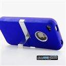 Deluxe Blue Hard Case Chrome Cover Stand Rubberized Clip for iPhone 4S 4 4G