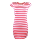 Sexy Women Striped Slim Cocktail Party Clubwear Evening Mini Dress Size XL Pink and White