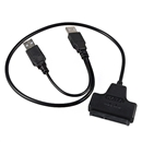 USB 2.0 to SATA 22Pin 7+15 Pin Adapter Cable for 2.5 inch HDD Hard Disk Drive black