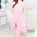 Sexy Nightgown Babydoll Sleepwear Lace Pajamas With Underwear Pink