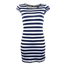 Sexy Women Striped Slim Cocktail Party Clubwear Evening Mini Dress Size XL Navy Blue and White