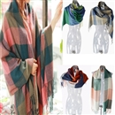 5 Colors Womens Girls Wool Tassels Plaid  Warm Winter Soft Scarf Shawl Dark Pink