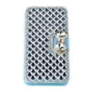 Super Deluxe Bling Diamonds Leather Cover Case for Apple Samsung iPhone 6 blue