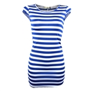 Sexy Women Striped Slim Cocktail Party Clubwear Evening Mini Dress Size M Blue and White