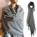 Fashion  Artificial Wools Cashmere Plover Grid Woven Scarf Unisex White Black 70*200CM