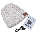 White Warm Beanie Hat Wireless Bluetooth Smart Cap Headphone Headset Speaker Mic SK-H002B