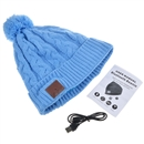 Blue Warm Beanie Hat Wireless Bluetooth Smart Cap Headphone Headset Speaker Mic SK-H033B