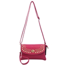 Rose Red Multicolor Womens Handbag Rivet Purse Tote Shoulder Bag Faux Leather