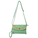 Green Multi color Womens Handbag Gold Rivet Purse Tote Shoulder Bag Faux Leather