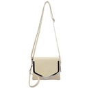 Beige SYMELI Solid Color Lady Messenger Cross Body Totes Shoulder Bag Satchel