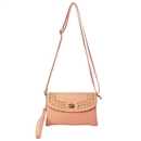 Light pink Multicolor Womens Handbag Rivet Purse Tote Shoulder Bag Faux Leather