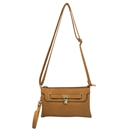 Brown Lady Ustyle Lock Buckle Decorative Purse Satchel Messenger Shoulder Bag