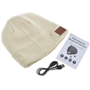 Cream Warm Beanie Hat Wireless Bluetooth Smart Cap Headphone Headset Speaker Mic SK-H001B
