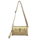 Gold Lady Ustyle Lock Buckle Decorative Purse Satchel Messenger Shoulder Bag