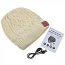 Beige Warm Beanie Hat Wireless Bluetooth Smart Cap Headphone Headset Speaker Mic H004B