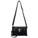 Black Lady Ustyle Lock Buckle Decorative Purse Satchel Messenger Shoulder Bag