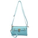 Blue Lady Ustyle Lock Buckle Decorative Purse Satchel Messenger Shoulder Bag