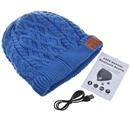 Blue Warm Beanie Hat Wireless Bluetooth Smart Cap Headphone Headset Speaker Mic SK-H004B