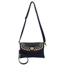 Black Multi color Womens Handbag Gold Rivet Purse Tote Shoulder Bag Faux Leather
