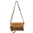 Brown Multi color Womens Handbag Gold Rivet Purse Tote Shoulder Bag Faux Leather