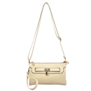 Beige Lady Ustyle Lock Buckle Decorative Purse Satchel Messenger Shoulder Bag