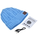 Blue Warm Beanie Hat Wireless Bluetooth Smart Cap Headphone Headset Speaker Mic SK-H032B