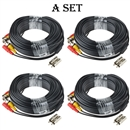 4 PACK 100ft bnc video power cable security camera wire cord for cctv dvr surveillance system