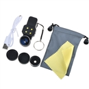 Universal 4in1 Clip On Camera Lens Kit Wide Angle Fish Eye Macro For Smart Phone Black