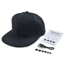 Hip-hop cap, hip-hop wireless Bluetooth twill cap adjustable Velcro Men Women handsfree headset headset MP3 music player, telephone answering, black